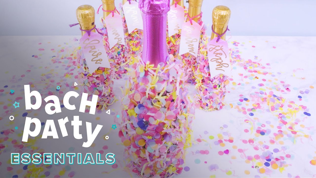 Bachelorette Party Favors: Confetti Champagne Bottles - YouTube