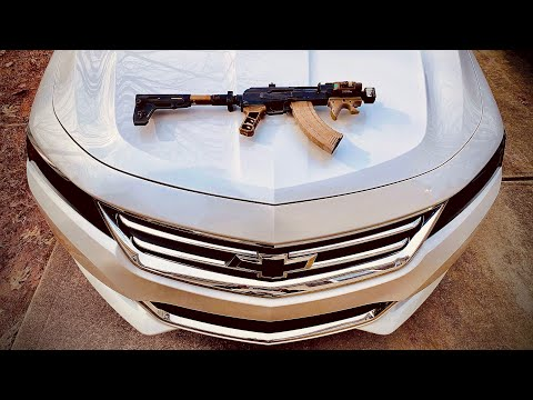 Micro Draco VS Car. Do NOT Hide Behind A Car When an AK47 Is Going Off. Educational Video!