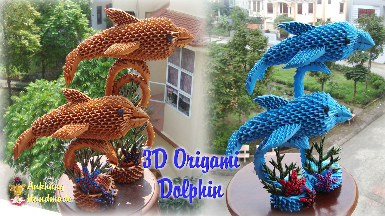 3d origami dolphin paper dolphin handmade decoration