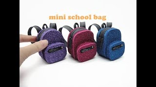 DIY Miniature Doll Mini Glitter School Bag Backpack - Back to School!