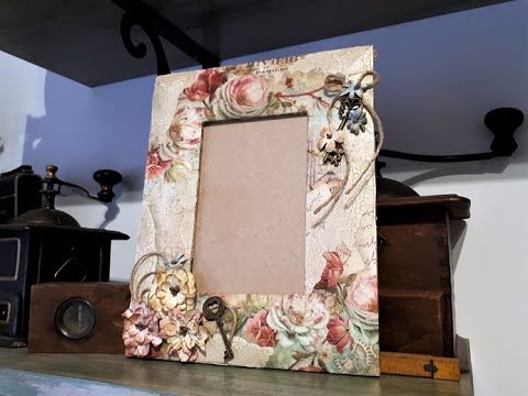 Decoupage en un marco para fotos - YouTube