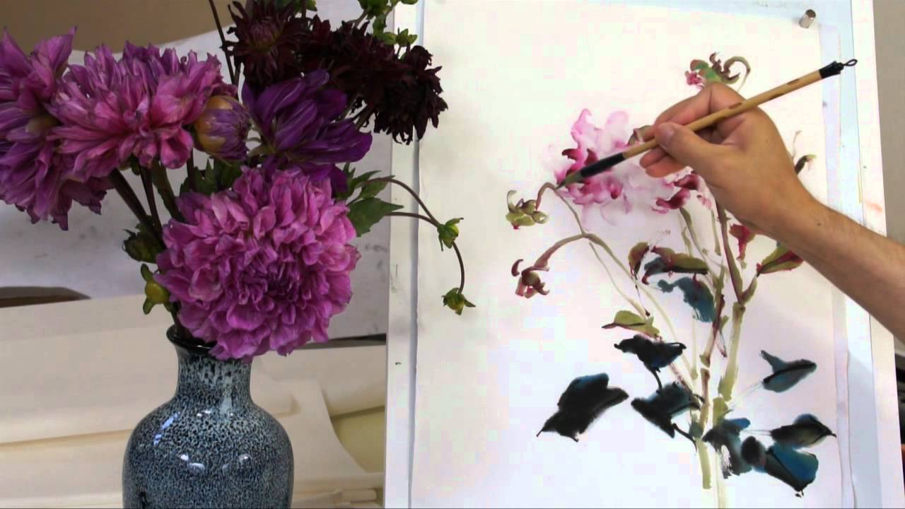 how to paint dahlia in chinese brush painting with sumi