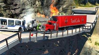 Collapsing Bridge Pileup Crashes #3 - BeamNG Drive Realistic Physics