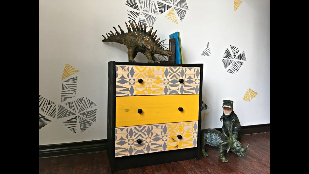 Ikea Hack! How to Stencil a Modern Mid Century Rast Dresser for a ...