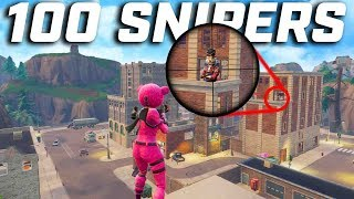 100 SNIPERS DROPPING TILTED TOWERS! (Fortnite Battle Royale)