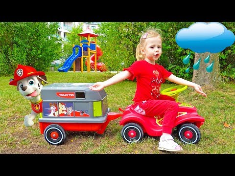 Paw Patrol toys playing on the outdoor playground for kids Nursery Rhymes Songs for children