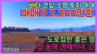 (0467) 바닷가 코앞 소형토지 집,농막,컨테이너 모두 OK 도로접한 땅 매매