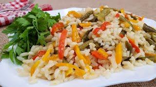 Рис с овощами - яркий, вкусный гарнир
