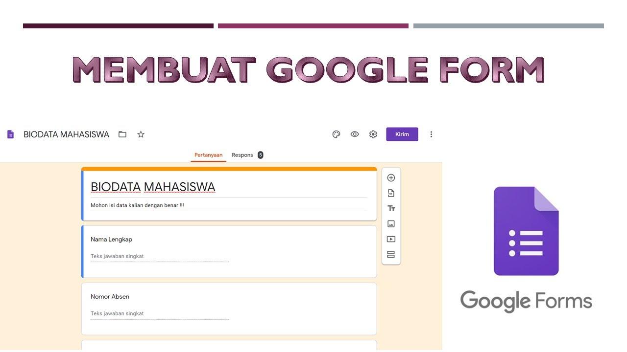 cara membuat google form kuesioner data online - YouTube