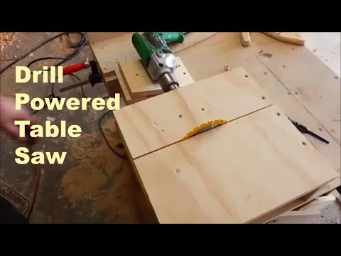 Homemade table saw with a drill