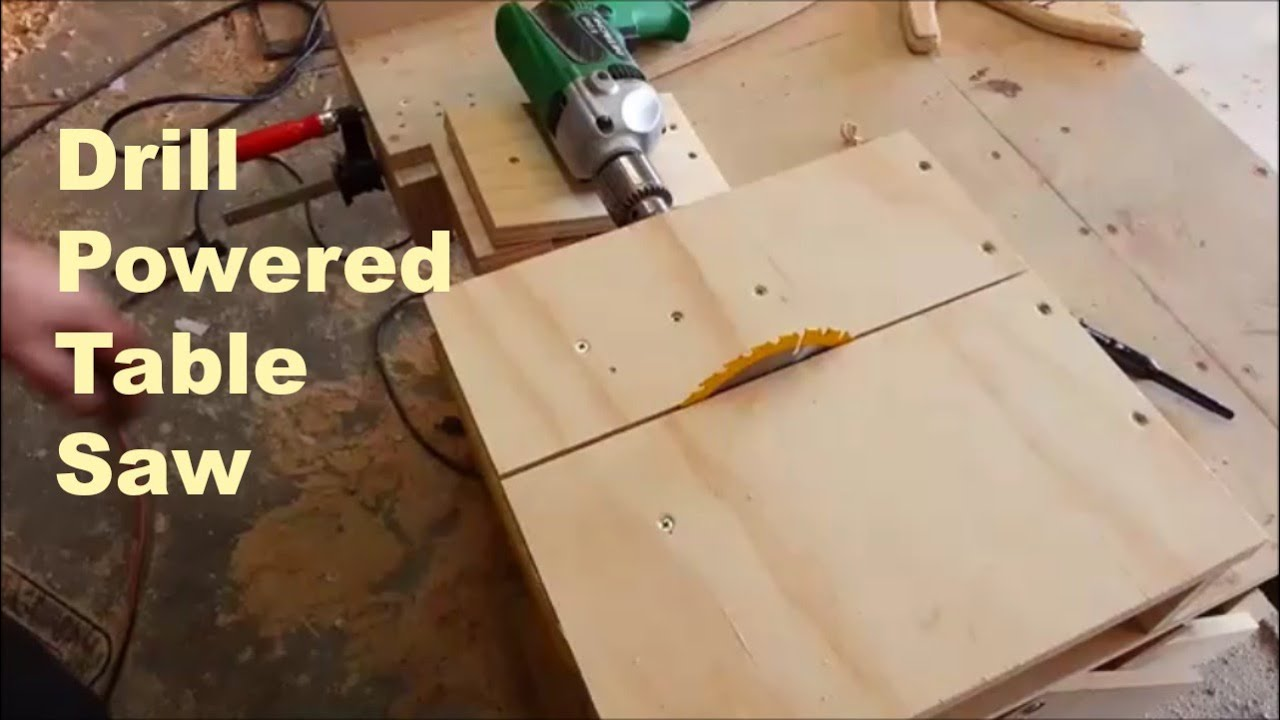 Homemade table saw, drill powered - YouTube