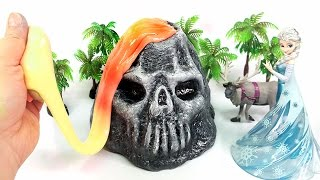 DIY Skull Mountain Lava Slime !! Glow Slime With Frozen Elsa | MonsterKids