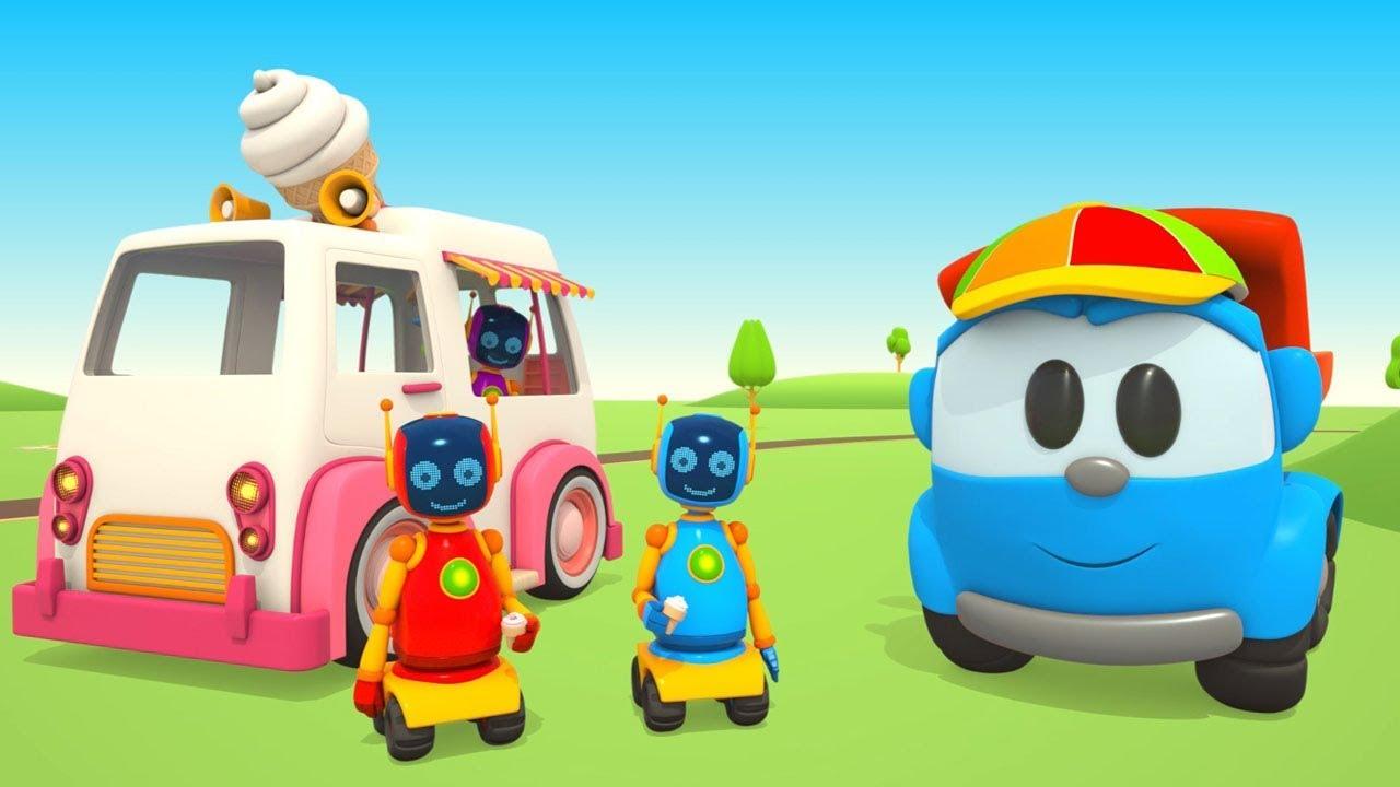 Leo Il Camion Curioso Con I Robot Fa Il Camioncino Dei Gelati Youtube