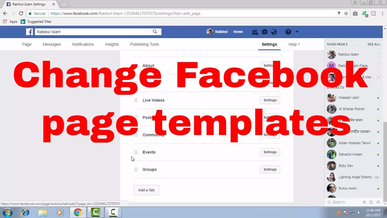 How To Change Or Edit Facebook Page Templates With Default