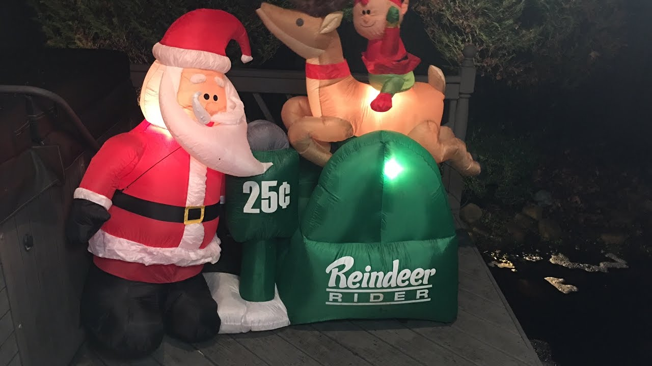 Gemmy inflatable airblown reindeer outdoor christmas decoration lowe - Gemmy 2012 Animated Reindeer Rider Inflatable Review