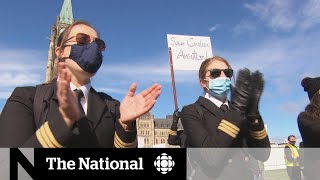 Airline workers protest on Parliament Hill for help from federal government