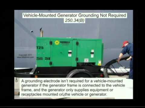 NEC 2011 Grounding Portable and VehicleMounted Generators 25034 (2min:43sec)  YouTube