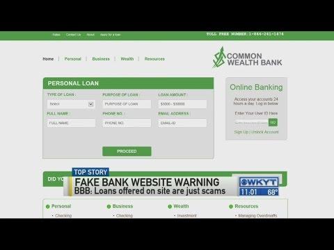 Fake Bank Website Warning