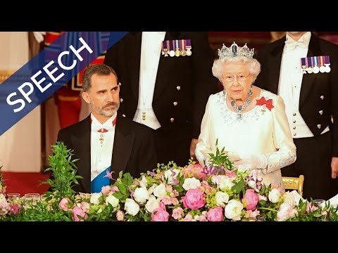 The Queen gives a speech at the State Banquet | Spain State Visit