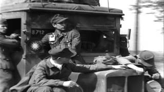 German soldiers of 512th Tank Destroyer Battalion under Lt. Hauptmann Albert Erns...HD Stock Footage