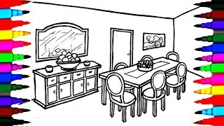 Coloring Pages Dining Table and Chairs l Mirror l Dining Room Drawing Pages To Color For Kids