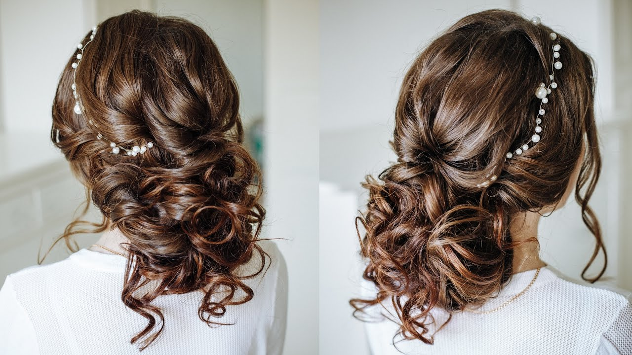 Easy romantic wedding hairstyle for long medium hair
