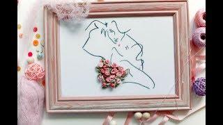 💋 Картина Поцелуй.  Вышивка лентами для начинающих пошагово/How to embroider a picture with ribbons