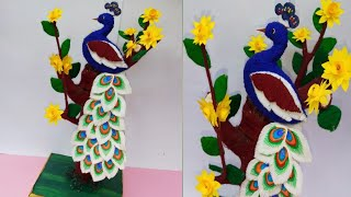 Cotton peacock craft/ Best peacock making ideas using cotton.DIY- cotton craft idea.  Suchipatra Art