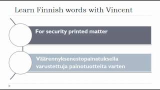 Learn Finnish = Vocabulary = For books