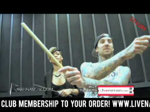 Rihanna Playing Drums With Travis Barker