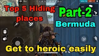 Free fire top 5 hiding places in bermuda to rank push tricks tamil