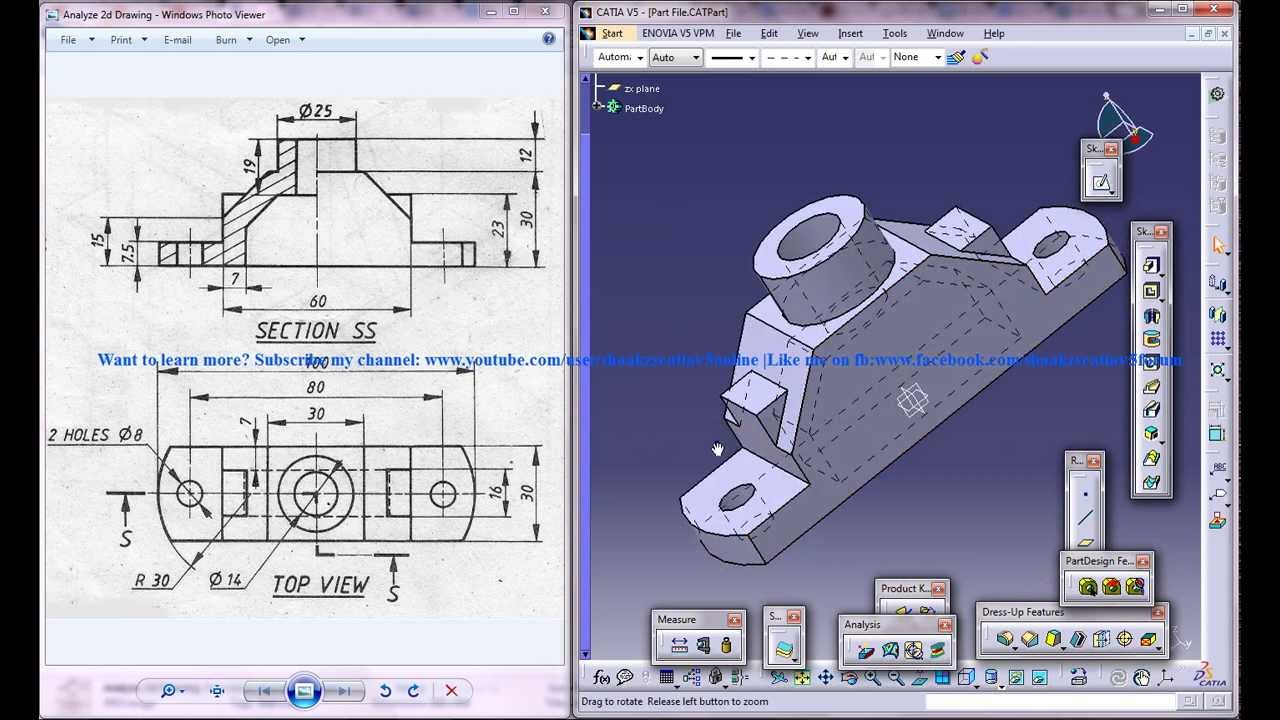 2d Drafting And Detailing : Catia v5 tutorialhow to read & create 3d models from 2d drawings p1