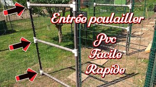 How to make a chicken house door in PVC tube. Simple and quick to install.