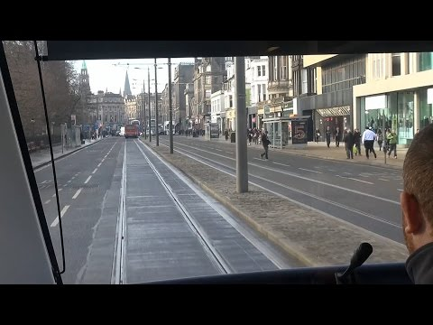 Edinburgh's New Trams - Ride Behind the Driver Over the Complete Route.