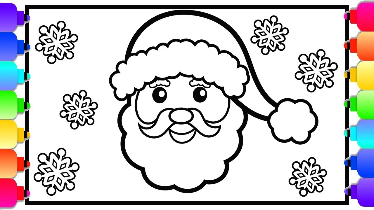 Learn How to Draw Santa  Cute Christmas Coloring Pages for Kids  Easy Art  🎄💛🎄💚🎄