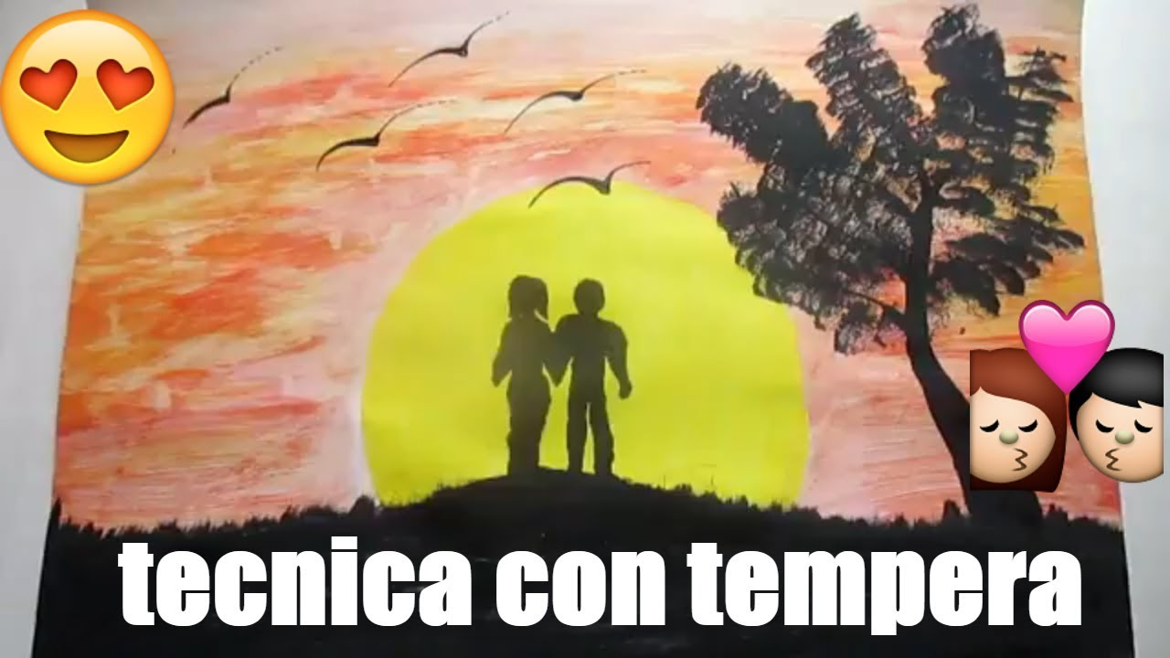 How To Paint With Tempera And Sponge Romantic Drawings To Draw Drawings With Landscape Tempera