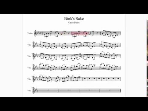 Partitura - One Piece / Binks Sake   Piano, Violín, Saxófon Alto