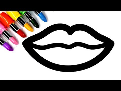Learn colors for kids and color this Lipstick Colouring page 💜(4K)