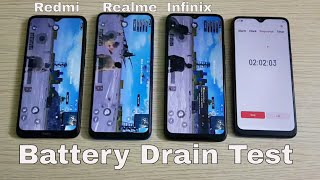 Redmi 8A/Redmi 8 vs Realme 5 vs Infinix Hot 8 5000mAh Battery Drain Test
