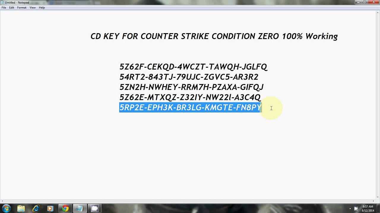 counter strike 1.6 cd key i pokaz + dowonload - YouTube