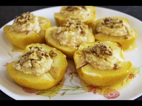 Отличный Рецепт Запеченных Яблок С Бананового-творожной Начинкой, Грецким Орехом и Ароматным Медом