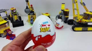 Kinder Joy - Lego construction vehicles cracking giant kinder joy