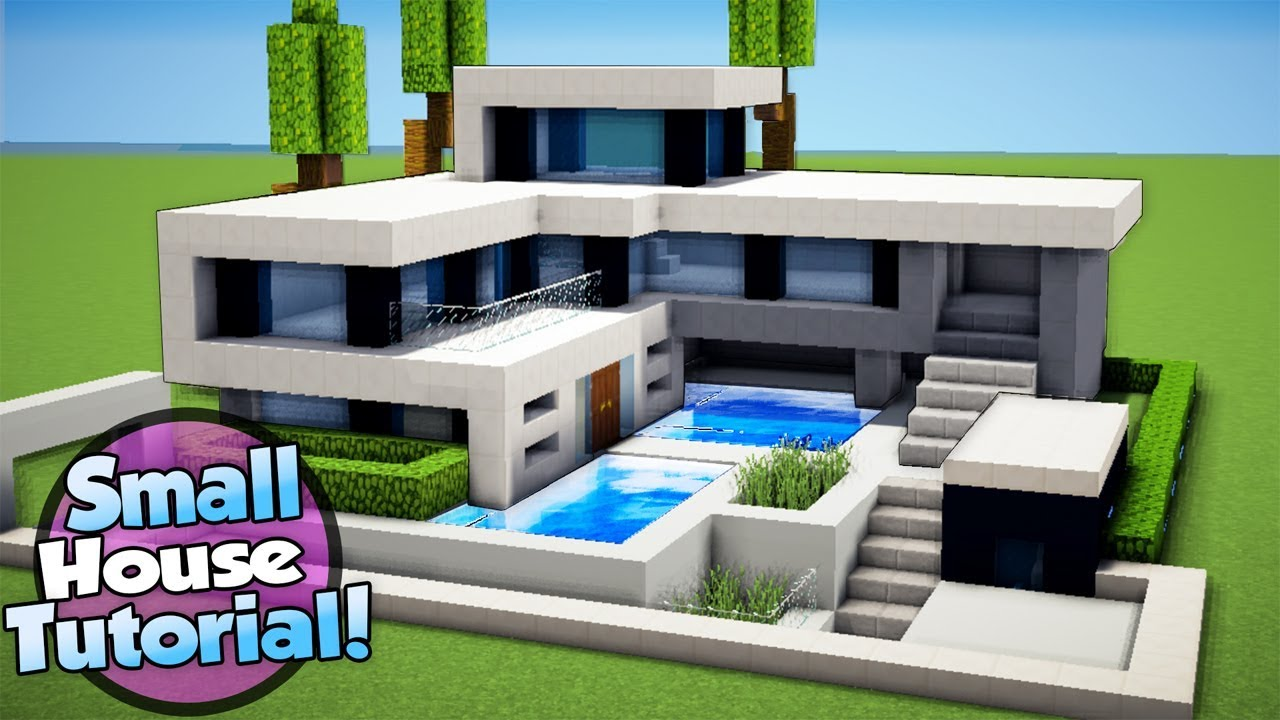 Minecraft how to build a small modern house tutorial 16 for How to build a modern home