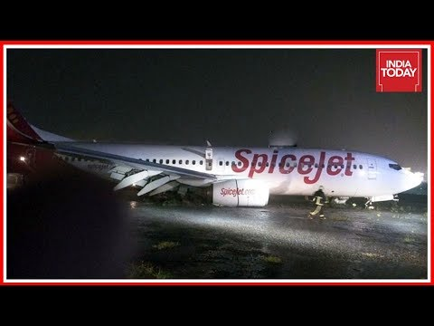 Spicejet Plane Skids Off Runway At Mumbai Airport