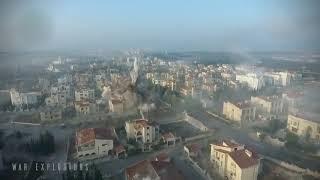 Видео с дрона,попадание ракеты в Алеппо.Сирия