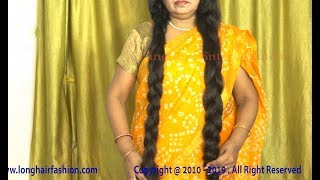 Easy Twin Thick Braid Making By Indian Long Hair Woman With Her Extra Thick Knee Length Hair