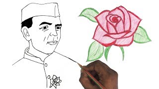 How to Draw Nehru & Rose | Children's Day Special drawing step by step very easily