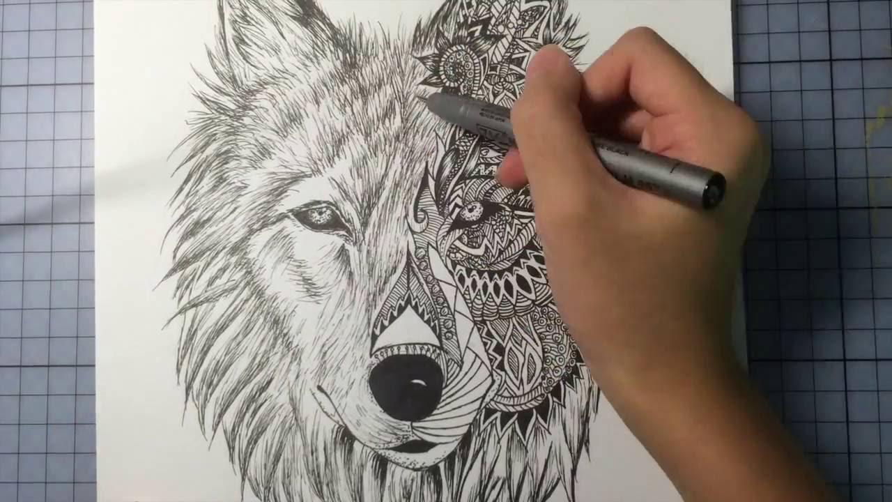Wolf Mandala Drawing Youtube