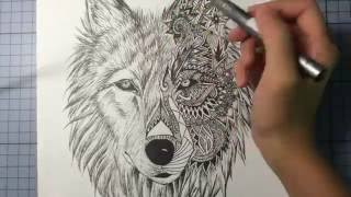 Wolf Mandala Drawing