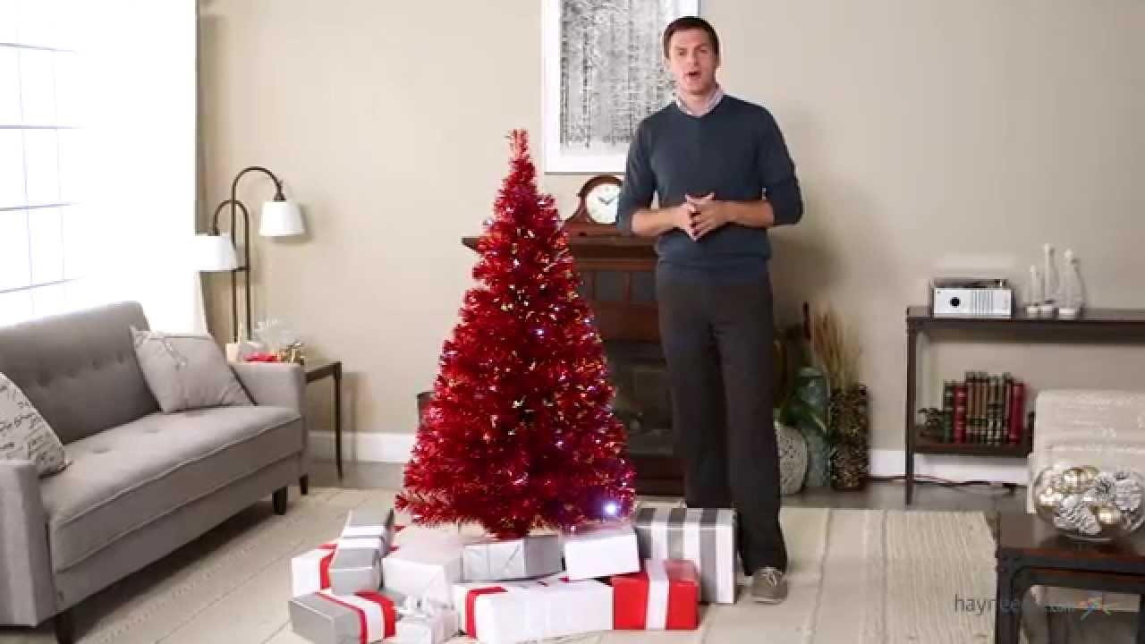 Metallic Red Medium Fiber Optic Pre-lit Christmas Tree - 5.5 ft ...